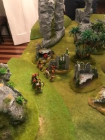 The Estalians set up with a refused flank and archers holding the high ground.